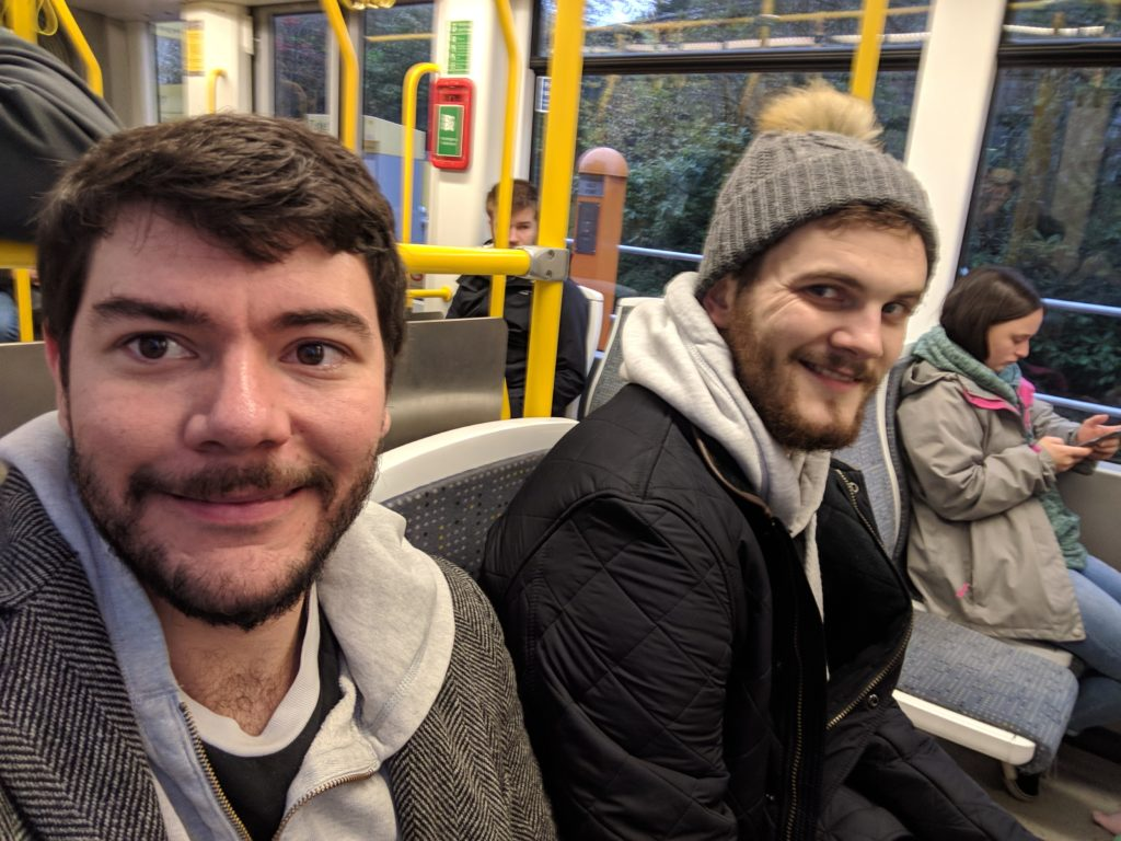 Jack and Sam on the tram to Manchester Airport.